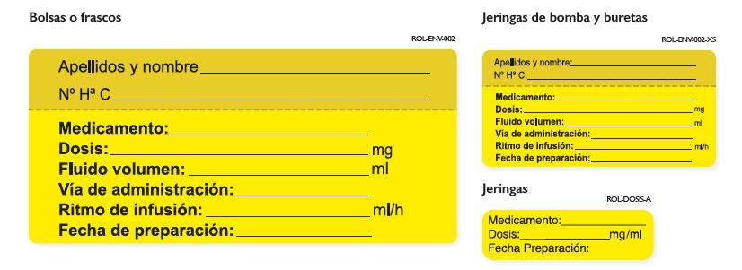 imagen etiquetas de identificacion via parenteral anestésicos locales
