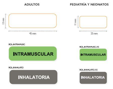 imagen etiquetas de identificacion vias de administracion intramuscular e inhalatoria en jeringas