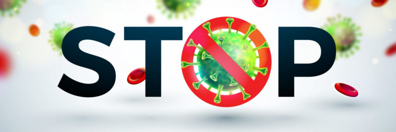 Stop Coronavirus Design with Falling Covid-19 Virus and Blood Cell in Microscopic View on Light Background. Vector 2019-ncov Corona Virus Outbreak Illustration on Dangerous SARS Epidemic Theme for Banner